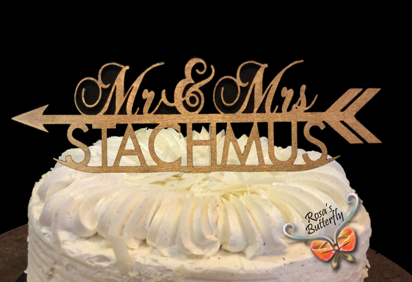 Mr and Mrs wooden cake topper, Initials Cake Topper,Personalized Cake Topper,wedding cake topper,Arrow & Initials Cake topper