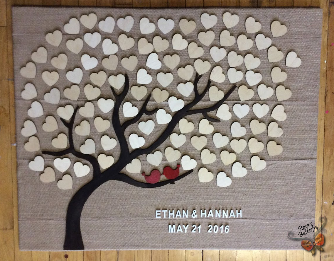 Custom Wedding Guest book 3d wooden Tree of life and love bird.
