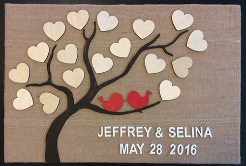 Custom Wedding Guest book 3d wooden Tree of life and love bird. Small