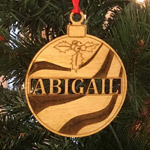 Wooden Christmas Ornament, Abigail, Holiday gift, First Christmas gift