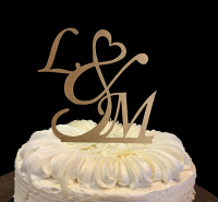 L love and M wooden cake topper, Initials Cake Topper,Personalized Cake Topper,wedding cake topper