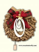 "Burlap Wreath with monogram "" O "" for Front Door, Baby shower, wedding!"