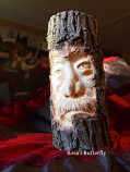 Log Tea light candle holder 'grandPa'