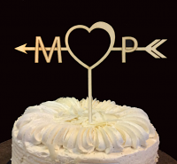 M & P Wooden Cake Topper for Wedding, Birth day, Anniversary