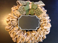 "Burlap Wreath with monogram ""Blank Chalk board"" for Front Door, Baby shower, wedding!"
