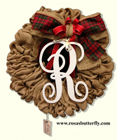 "Burlap Wreath with monogram "" R "" for Front Door, Baby shower, wedding!"