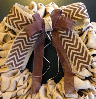 Brown Chevron _ Brown Bow for Wreath