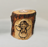 Log Tea light candle holder 'Angel'