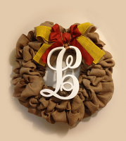 "Burlap Wreath with monogram "" L "" for Front Door, Baby shower, wedding!"