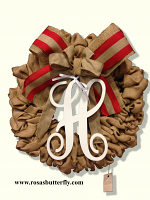 "Burlap Wreath with monogram "" H "" for Front Door, Baby shower, wedding!"