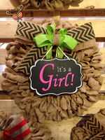 "Burlap Wreath with Chalk Board ""It's a girl "" Sign  for Front Door, Baby shower, special guest."